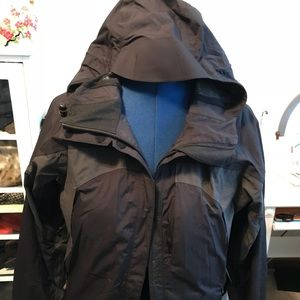 REI light black and gray hooded jacket SZ S